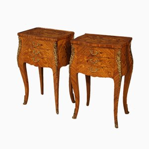 French Inlaid Nightstands, 1960s, Set of 2