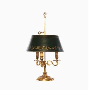 Lámpara de mesa francesa Bouillotte estilo Luis XV antigua de bronce