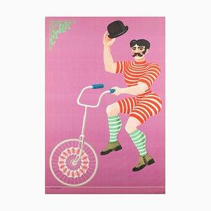 Póster de circo polaco vintage de Hubert Hilscher, años 70
