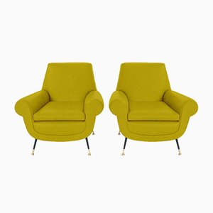 Customizable Italian Armchairs by Gigi Radice for Minotti, 1950s, Set of 2 in Mustard