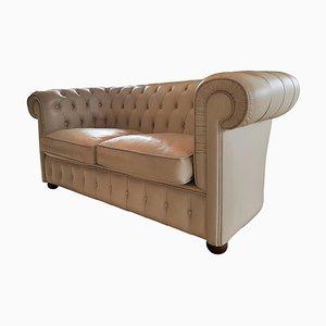 Französisches Weißes Leder Chesterfield Sofa, 1978