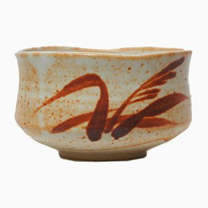 Japanese White & Orange Ceramic Shino Tea Bowl, 1950s