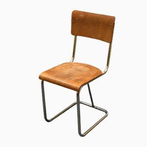 Vintage Stuhl mit Stahlrohrgestell von Gispen, 1920er