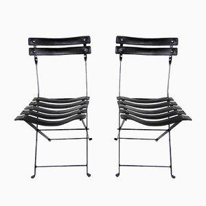 Französische Esszimmerstühle aus Eisen & Leder, 1960er, 2er Set