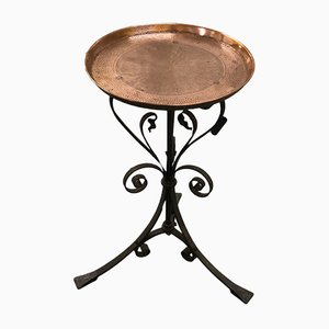 Antique Art Nouveau Copper and Steel Side Table