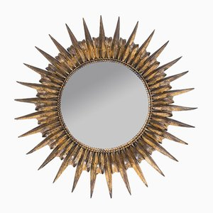 Mid-Century Spanish Metal Sunburst Mirror, 1950s