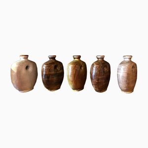 Vintage Glazed Ceramic Gourd Vases by Frères Cloutier, Set of 5