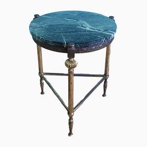 Tavolino Mid-Century in ottone e marmo, Francia, anni '60
