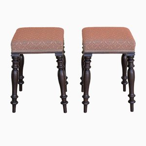 Antique Mahogany Stools, Set of 2