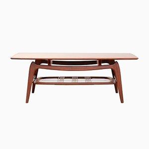 Table Basse Vintage en Teck et Contreplaqué par Louis van Teeffelen pour WéBé, 1960s