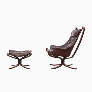 Falcon Lounge Chair & Ottoman by Sigurd Ressell for Vatne Møbler, 1970s