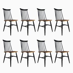 Scandinavian Modern Beech and Teak Dining Chairs from AB Edsbyverken, 1960s, Set of 8