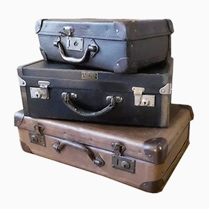 Small Vintage Travel Trunks, Set of 3