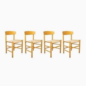 Beech & Paper Cord Model J39 Folkestolen Chairs by Børge Mogensen for FDB, 1960s, Set of 4
