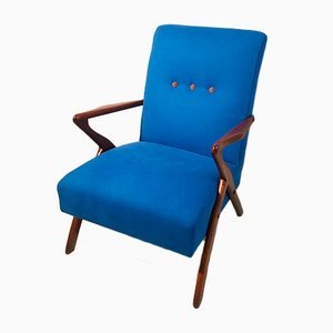 Mid-Century Italian Textile and Walnut Lounge Chair, 1950s