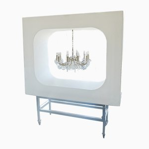 Minimalistische deutsche Leuchtskulptur aus Aluminium, Acrylglas & einer Leuchtstofflampe von Bildgehege, 2000er
