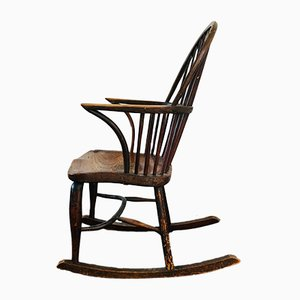 Rocking Chair Antique en Hêtre, Frêne et Orme, 1848