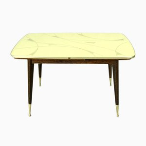Beech, Brass & Patterned Glass Exendable Dining Table, 1960s