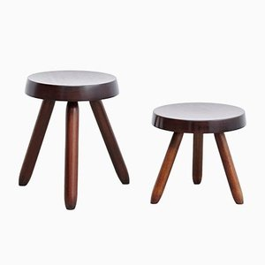 Black Wooden Stools by Charlotte Perriand, 1990s, Set of 2
