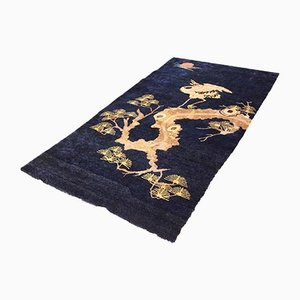 Antique Chinese Hand Knotted Wool Pao Tou Crane Rug