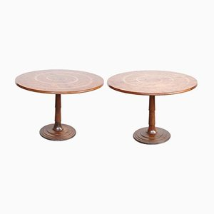 Round Wooden Dining Table by Oscar Tusquets, 1970s, Set of 2