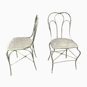 Antique German Wrought Iron Garden Chairs, Set of 2