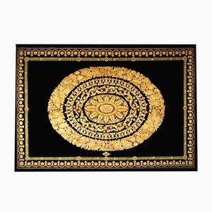 Alfombra en negro y dorado de Gianna Versace para Atelier Versace, años 80