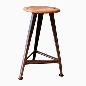 Mid-Century Industrial German Metal and Wood Stool, 1940s