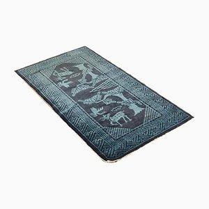 Antiker blauer chinesischer Suiyuan Teppich, 1940er