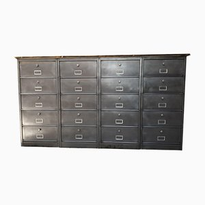 Industrial Iron Bank of Drawers from Roneo, 1970s
