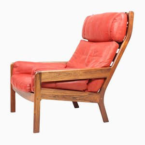 Danish Leather and Rosewood Lounge Chair by Erik Ole Jørgensen, 1960s