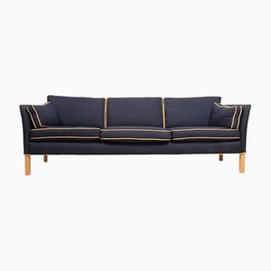 Beech, Fabric, and Leather Sofa, 1980s