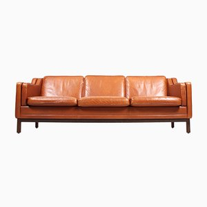Danish Beech and Leather Sofa by Mogens Hansen, 1980s