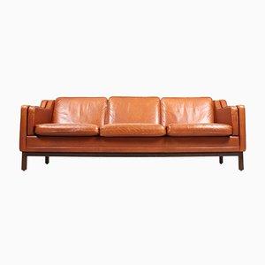Danish Beech and Leather Sofa by Mogens Hansen, 1980s
