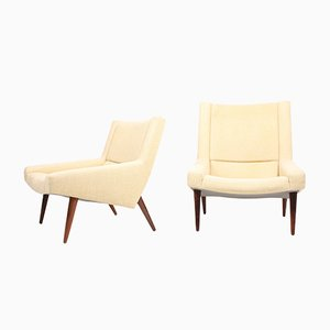 Danish Fabric and Rosewood Lounge Chairs by Illum Wikkelsø for Søren Willadsen Møbelfabrik, 1960s, Set of 2