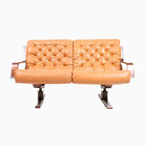 Mid-Century Danish Beech and Leather Sofa, 1960s