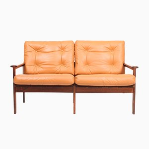Danish Leather and Rosewood Sofa by Illum Wikkelsø for Niels Eilersen, 1960s