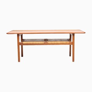 Danish Oak, Teak, and Cane Coffee Table by Hans J. Wegner for Andreas Tuck, 1950s