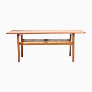 Tavolino da caffè in quercia, teak e canna di Hans J. Wegner per Andreas Tuck, Danimarca, anni '50