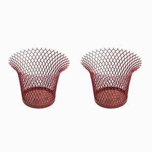 Enamelled Metal Baskets by Mathieu Matégot for Atelier Mategot, 1950s, Set of 2