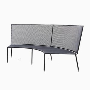 Mid-Century Formalist Black Lacquered Curved Metal Bench by Mathieu Matégot for Ateliers Matégot