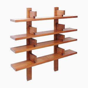 Modernes wandmontiertes Holz Bücherregal von Pierre Chapo, 1960er