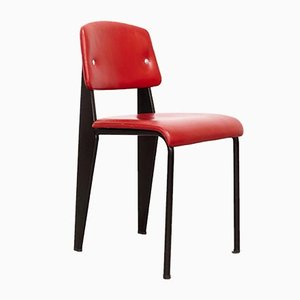 Mid-Century Model 305 Red Upholstered Side Chair by Jean Prouvé for Ateliers Prouve, 1950s