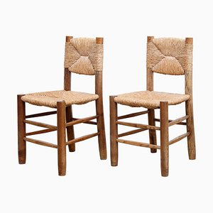 Vintage French Dining Chairs by Charlotte Perriand, 1950s, Set of 2