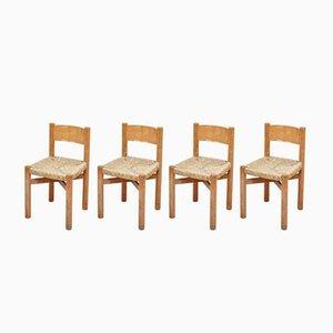 Französische Mid-Century Meribel Stühle aus Holz & Rattan von Charlotte Perriand, 1950er, 4er Set