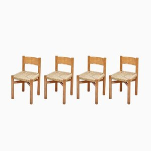 Mid-Century French Wood and Rattan Meribel Chairs by Charlotte Perriand, 1950s, Set of 4