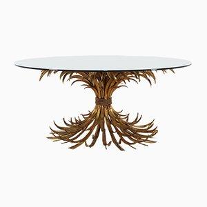 Tavolino da caffè vintage in vetro e metallo dorato, anni '70