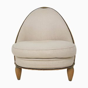 Art Deco French Fabric and Wood Slipper Chair, 1930s