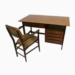 Italienisches Set aus Schreibtisch & Stuhl aus Teak von Vittorio Dassi, 1950er