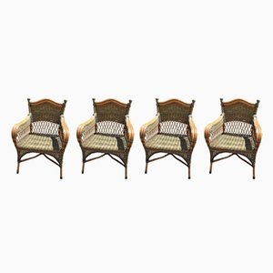 Vintage Rattan Lounge Chairs, 1980s, Set of 4